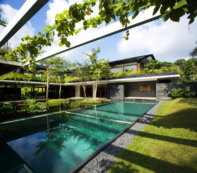Green paradise: The house uses photovoltaic cells and solar water heaters to save energy and recycles rainwater