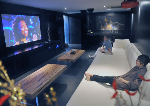 A basement entertainment room.